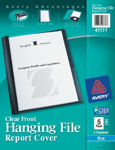- Avery Hanging File Clear Front Report Covers, Blue, Pack of 5 (47777)