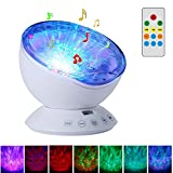 Remote Control Night Light Projector - SurLight 7 Light Modes Rotating Ocean Wave Projector Night Lamp with Built-in Mini Music Player TF Card Slot for Baby Kids Adults Nursery Bedroom Living Room