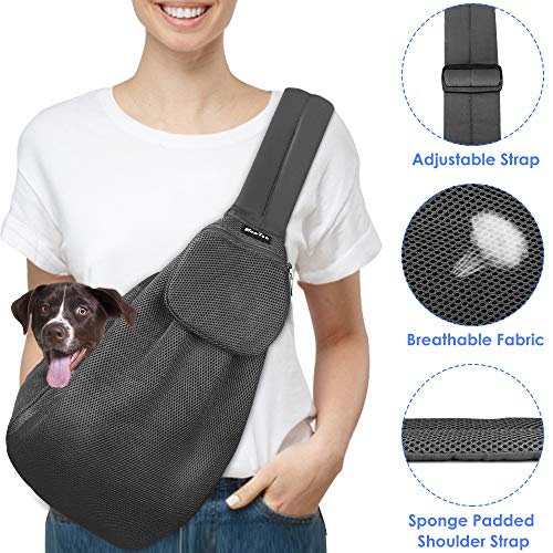 SlowTon Pet Carrier, Hand Free Sling Adjustable Padded Strap Tote Bag Breathable Cotton Shoulder Bag Front Pocket Safety Belt Carrying Small Dog Cat Puppy Machine Washable (Grey-Breathable Fabric)