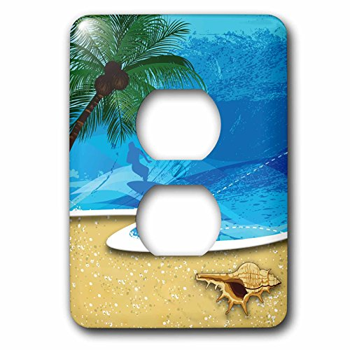 - 3dRose LLC lsp_152537_6 Beach Scene with A Palm Tree, Sea Shell and Surfer 2 Plug Outlet Cover