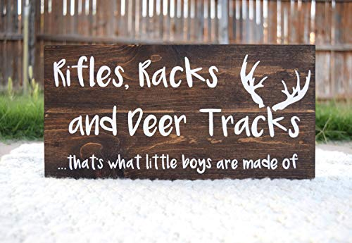 CELYCASY Hunting Decor Hunting Nursery Rifles Racks and Deer Tracks Thats What Little Boys are Made of Deer Antlers Hunting Baby Hunting - Deer Antler Furniture