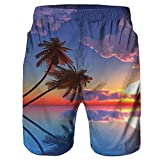F_Gotal Men's Swimming Trunks Quick Dry Board Shorts 3D Tree Printed Swimming Shorts Boxer Briefs Swimwear Bathing Suits Blue