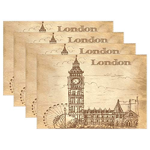 Jereee Vintage London Bigben Set of 6 Placemats Heat-Resistant Table Mat Washable Stain Resistant Anti-Skid Polyester Place Mats for Kitchen Dining Decoration ()