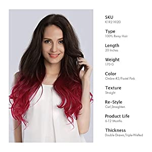 KINGHAIR Ombre#2/Pastel Pink Clip In Remy Hair Extensions - 20 Inches - 170G Full Head Set