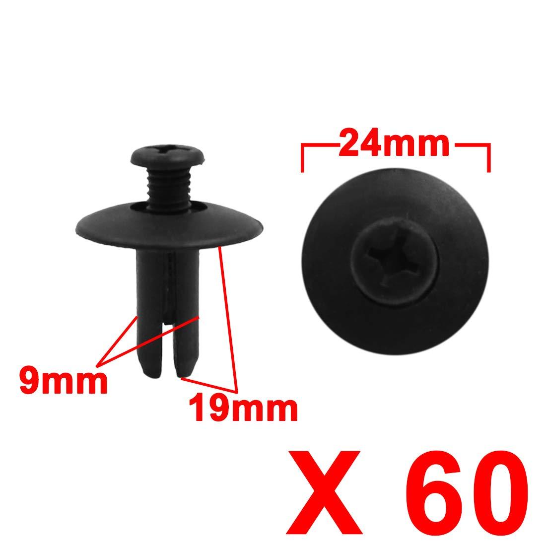 X AUTOHAUX 60pcs 9mm Hole Black Car Trim Panel Push Pin Clip Bumper Fender Plastic Rivets