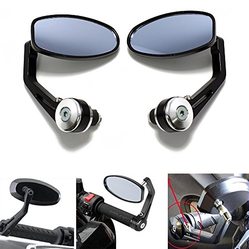 Black Motorcycle 7 8 Handle Bar End Rearview Mirrors for Ducati Monster Sport Bikes (Black & Chrome)