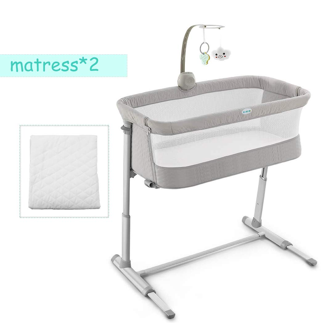 Bedside Sleeper for Baby, Kidsclub, Baby Bassinet for New Born, Standalone Bassinet & Side-Sleeper for Infants, Baby Bed, 2 Replaceable Mattress, 9 Height Adjustable, Stable, for Bed & Sofa(Grey) by kidsclub