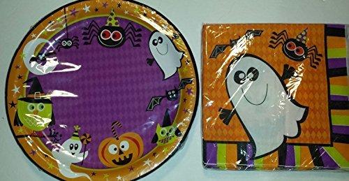 Halloween Party Ghost Pumpkins Spiders Owels Design Plates (18) and Napkins (18) (Halloween Party Designs)