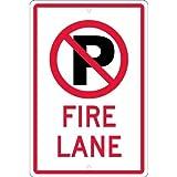 NMC TM0101H, 18''x12'' All Purpose Aluminum No Parking Graphic Fire Lane Sign, Pack of 12 pcs