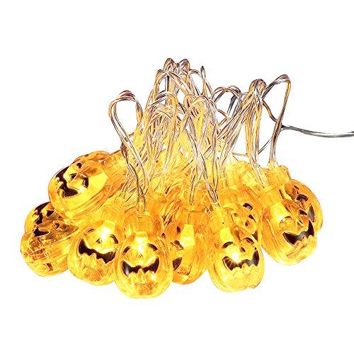 Jhua 20-LED Orange Pumpkin Lights 80inches 3D Pumpkin LED String Light Powered by Battery LED Fairy String Lights for Halloween Christmas Festival Decoration Lanterns Lights String -