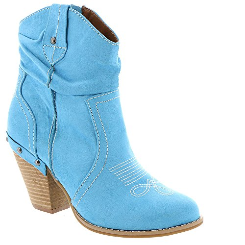 Embroidered Jeans Darling - Dolce by Mojo Moxy Women's Menzie Ankle Bootie, Denim Suede, 10 M US