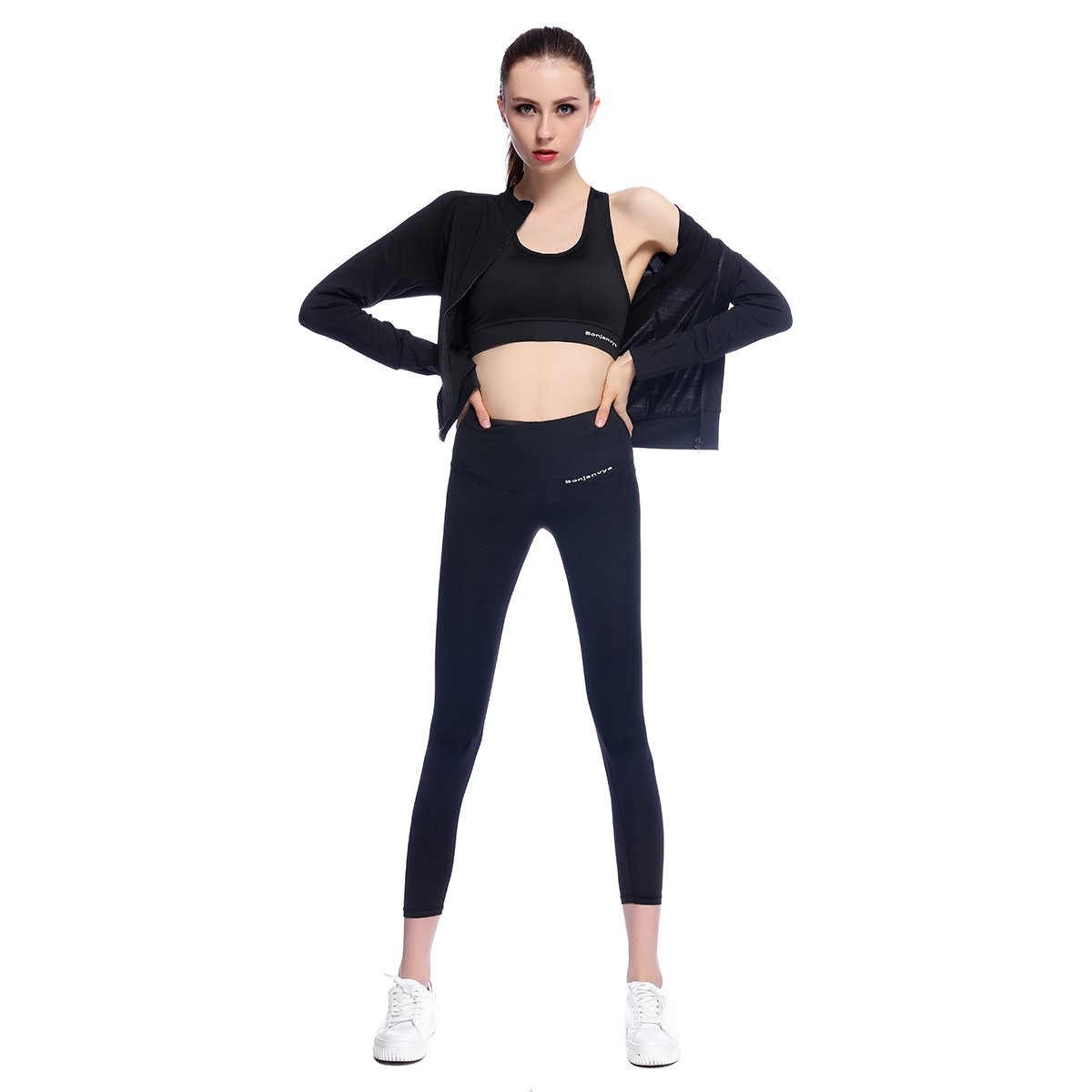 Bonjanvye Women's Yoga Suit 3 Piece Running Tracksuit Gym Fitness Outfit Workout Activewear Suit for Girls