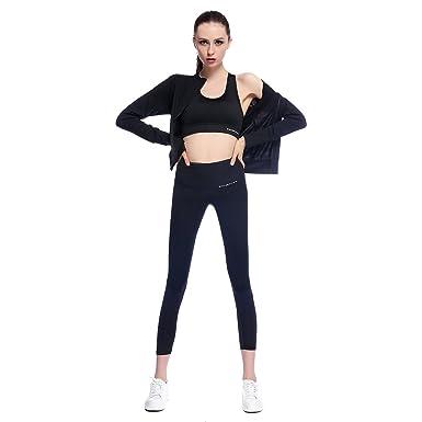 c75d6eae413cc Amazon.com  Bonjanvye Yoga Clothes for Women Set Activewear Jacket with  Thumb Holes Running Bra and Activewear Leggings Mesh  Clothing