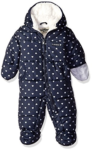 Osh Kosh Baby Girls' Heart Print Pram Suit, Navy, 3/6 (Fur Lined Suit)