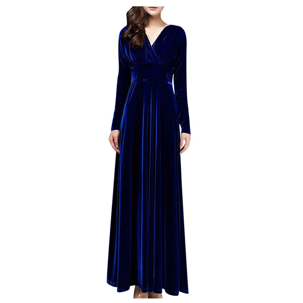 Excursion Clothing Women Comfy Velvet Sexy V Neck High Waist Bodycon Elegant Long Sleeve Slim Fit Cocktail Party Work Office Maxi Dress by Excursion Clothing