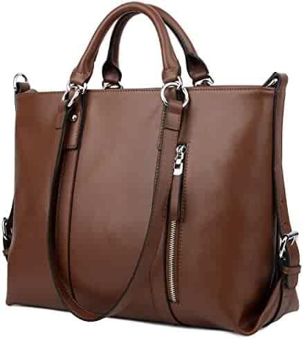 96770ad88a YALUXE Women s Urban Style 3-Way Leather Work Tote Shoulder Bag (Upgraded  2.0)