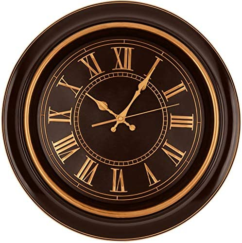 Bernhard Products Large Wall Clock 18 Quality Quartz Silent Non Ticking Battery Operated For Home Living Room Over Fireplace Beautiful Decorative Timeless Stylish Clock Mahogany Brown Copper Kitchen Dining Amazon Com