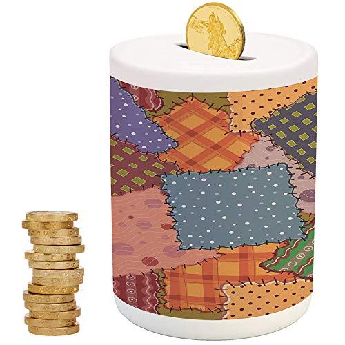 Cabin Decor,Ceramic Girls Bank,Printed Ceramic Coin Bank Money Box for Cash Saving,Composition of Folkloric Retro Patchwork Fabrics Shreds Stylized Illustration Decorative