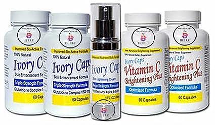 Belle Ivory Caps système 2(système avancé) peau blanchissant éclaircissant Capsules Support peau Crème éclaircissante comprimés vitamine C peau éclaircissant de blanchiment de la peau Plus