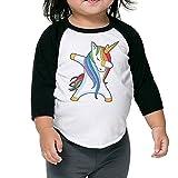 Hip Hop Rainbow Unicorn Kids Raglan T Shirts Baseball 3/4 Sleeves for Boys Or Girls