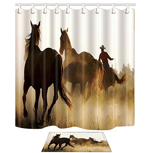 NYMB Western Shower Curtains, Cowboy Riding Horse Runing, 69X70in Mildew Resistant Polyester Fabric Shower Curtain Set With 15.7x23.6in Flannel Non-Slip Floor Doormat Bath Rugs