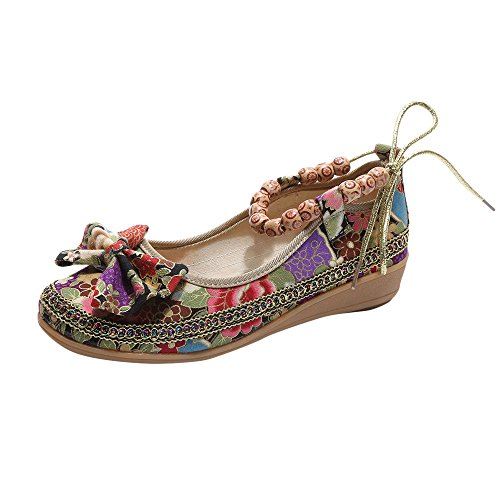 Haoricu Flat Shoes,Retro Women Ethnic Beading Round Toe Colorful Loafers Casual Embroidered Shoes (US:7.5, A)