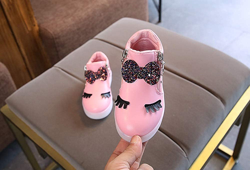 ZZBO Toddler Baby Girls Bowknot LED Light Up Luminous Snow Boots Winter Warm Waterproof Sneakers Casual Shoes Ankle Boots