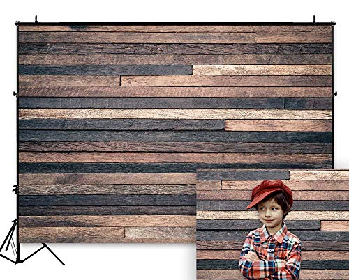 Funnytree 7X5FT Dark Wood Backdrops for Photography Wooden Wall Board Floor Background Banner for Birthday Baby Shower Party Photoshooting Picture Photo Studio Decoration - Board Background