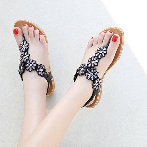 scarpe dolce fiore sandali strass YMFIE spiaggia bohémien da antiscivolo comode punta fondo piatto Golden Estate pizzico wxpqP4
