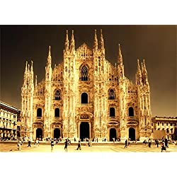 AOFOTO 8x6ft Retro Church Backdrops Duomo di Milano Photography Background Adult Travel Artistic Portrait Ancient Cathedral European Building Photo Shoot Studio Props Video Drop Seamless Vinyl