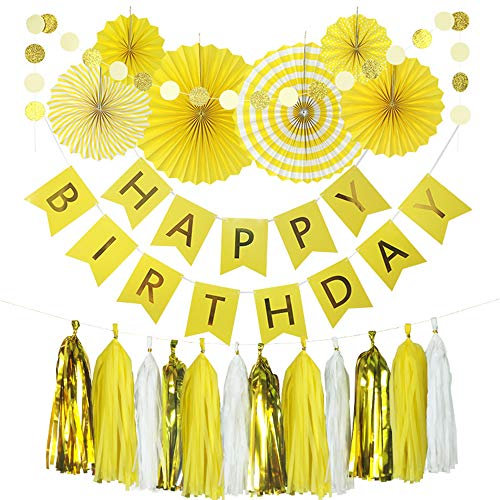 Yellow Birthday Party Decoration - 6 Hanging Fans & Birthday Banner & Decorative Circle Dot Garland & 12 Paper Tassels for Birthday Party, Baby Shower, Wedding etc. ()