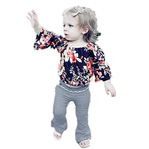 ca7a2fa168409 SiQing Baby Girls Floral Crop Tops+Hole Denim Pants Jean Toddler Kids  Clothes Sets (