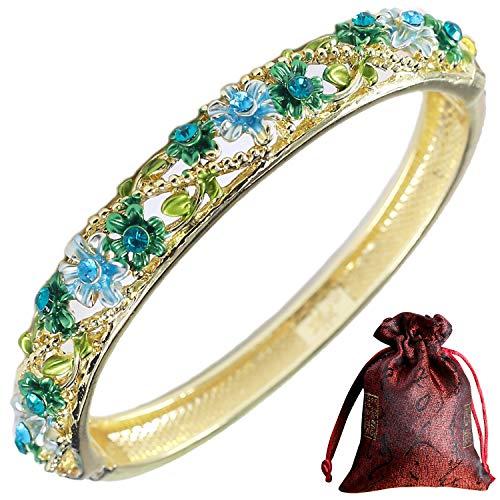 Pavaruni Traditional Gorgeous Chinese Cloisonne Bracelets, Rose Flower Retro Vintage Cultural Designed Enameled Jewelry, Cloisonné (Exquisite Blue(Bracelet))