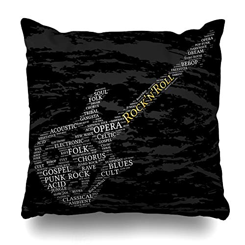 (Ahawoso Throw Pillow Covers Rock Rockn Roll Word Cloud Guitar Cult Acid Acoustic Ambient Bebop Blues Design Electronic Home Decor Pillow Case Square Size 20 x 20 Inches Zippered Pillowcase)