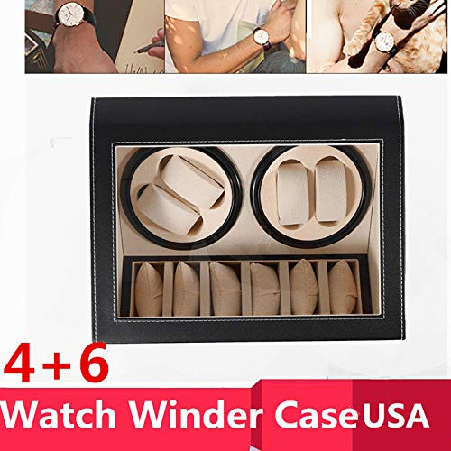 (NOPTEG 6+4 Automatic Watch Winder Box PU Leather Watch Winder Storage Watch Box Collection Display Double Head Silent Motor Box (Black))