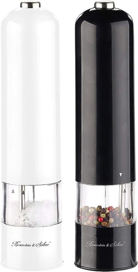 LED 22,5 cm Elektrische Salz- Salzmühle Pfeffermühle mit Keramik-Mahlwerk
