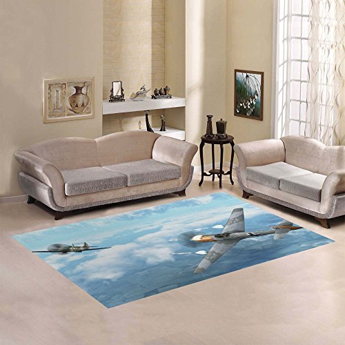 Love Nature Sweet Home Modern Collection Custom Airplane in dogfight with Supermarine Spitfire Area Rug 7'x5' Indoor Soft ()
