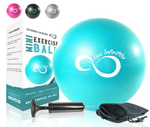 Live Infinitely Professional Grade 9 Inch Anti-Burst Mini Pilates Ball for Home Exercise, Balance Training, Yoga & Barre Workout - Includes Hand Pump, Needle Valve & Mesh Carrying Bag (Teal)