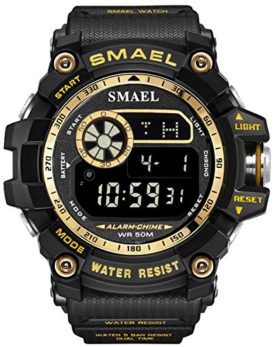 Mens Digital Sports Watches Multifunctional Large Military 50M Waterproof LED Alarm Backlight Super Cool Watch (Gold)