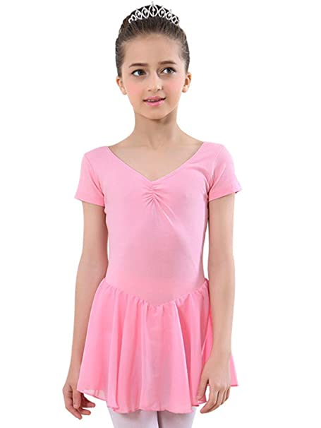 f900b423bef1 Amazon.com  CM-Kid Girls Short Sleeve Ballet Dance Dress Tutu Skirt ...