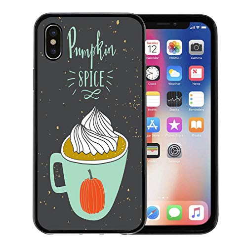 Semtomn Phone Case for Apple iPhone Xs case,Coffee Autumn Pumpkin Spice Holiday Greeting Christmas Cocoa Cozy Cup for iPhone X Case,Rubber Border Protective ()