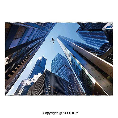 SCOCICI Place Mats Set of 6 Personalized Printed Non-Slip Table Mats Looking Up at Chicagos Skyscrapers in Financial District American City Picture for Dining Room Kitchen Table -