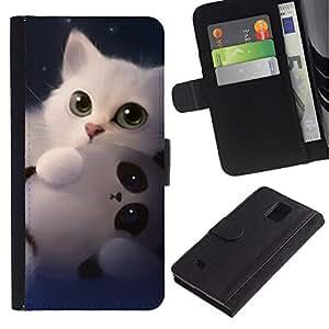 EuroCase - Samsung Galaxy Note 4 SM-N910 - panda cute kitten white sweet - Cuero PU Delgado caso cubierta Shell Armor Funda Case Cover