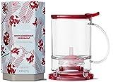 Teavana Set: Dark Red Perfectea Maker 16 oz and White Chocolate Peppermint Loose Leaf Herbal Tea 8 oz Tin