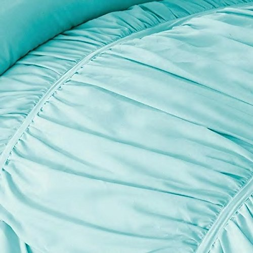 3 Piece Twin/Twin XL Light Turquoise Blue Embroidered Ruffles Wrinkle Ruched Comforter Set Bedding Vogue Bedspread College Teenager Room Dorm Adult Bedset Vibrant Fashion Pretty Smart Home Marine Aqua
