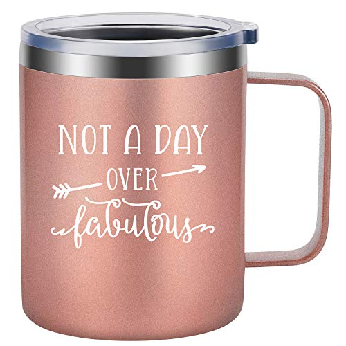 Not a Day Over Fabulous - Fun Best Friend Birthday Gifts for Women - Funny Birthday Wine Gifts Ideas for Her, BFF, Wife, Mom, Daughter, Grandma, Auntie, Sister, Coworker - LEADO Insulated Coffee Mug