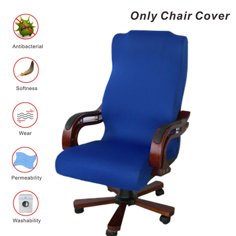 My Decor Office Chair Covers, Removable Cover Stretch Cushion Resilient Fabric Computer Chair/Desk Chair/Boss Chair/Rotating Chair/Executive Chair Cover, Large Size, Blue