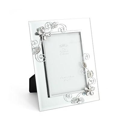 Lesser & Pavey - Marco de espejo de cristal mariposa, plata, 4 x 15 ...