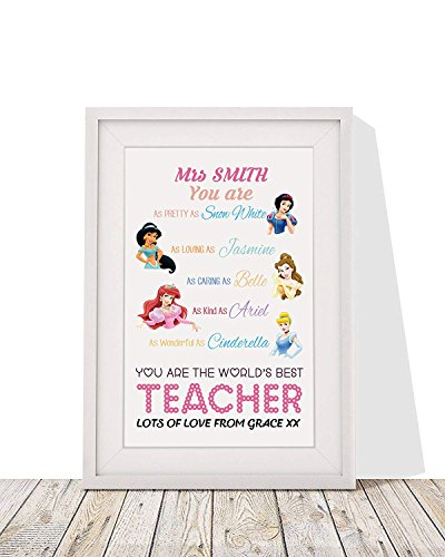 Personalized Best Teacher Gift | 'Disney Princess' Framed Wall Art Print with Mount | 12x10 Inch Wall Décor]()