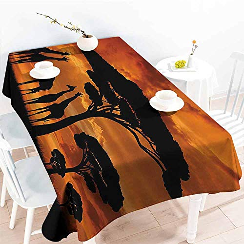 VICWOWONE Kitchen Long Tablecloth Wildlife Decor Will not Fade Safari with Giraffe Crew with Majestic Tree at Sunrise in Kenya W40 x L60 Burnt Orange Black